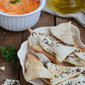Lavash Crackers with Roasted Red Bell Pepper Hummus