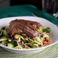 Steak with citrus-soy sauce & broccoli salad