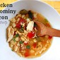Chicken Hominy Soup with Bacon, Tomato and Chiles