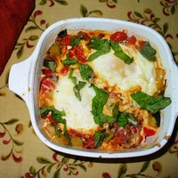 Baked Eggs With Tomato, Courgette & Capsicum.