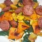 Roasted Squash and Kielbasa with Sautéed Chard