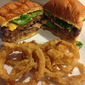 Stuffed Burgers and homemade Onion Rings