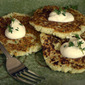 Cauliflower Pancakes with Fresh Thyme and Sour Cream