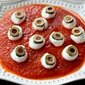 Mozzarella Eyeballs for Halloween!
