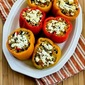 Recipe for Vegetarian Stuffed Peppers with Brown Rice, Mushrooms, and Feta