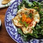 Baby Greens and Pear Bowl with Za'atar, Yogurt, and Fried Egg