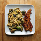 Parmesan Brussels Sprout Scrambled Eggs with Bacon