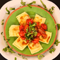 Spinach and Cheese Ravioli with Roasted Tomatoes and Basil