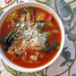 Recipe #371: Tomato-Zucchini Soup with Kale, Yellow Squash, & Cannellini Beans (Topped with Parmesan Cheese & Pesto Drizzle)