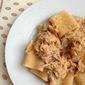 Paccheri con ragù bianco di coniglio, or pasta with rabbit ragù