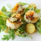 Sea Scallops with Saffron Potatoes and Orange-Meyer Lemon Salsa