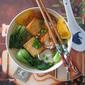 "Fish ""Tofu""and Tomato Rice Noodle Soup 鱼豆腐番茄果条汤"