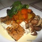 Salmon With Brandy Sauce And Roasted Vegetables