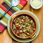 Italian Sausage Soup with Green Pepper, Chickpeas, and Pesto