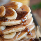 The Elvis Pancake Stack with Peanut Butter and Bananas Foster