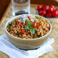 Quick Farro Recipe with Chicken Sausage, Tomatoes & Arugula