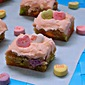 Conversation Heart Blondies with Cherry Cream Cheese Frosting