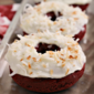 Baked Toasted Coconut Red Velvet Donuts