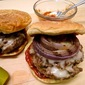 Bison Burgers with Grilled Onions and Hot-Chile Ketchup