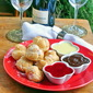 Raspberry Cream Profiteroles with Three Dipping Sauces