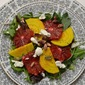 A Rainbow on a Plate: Blood Orange and Golden Beet Salad with Goat Cheese and Pistachios