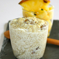 Quinoa pudding with raisins and pineapple-mint salsa