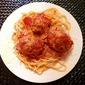 Savory Chicken Meatballs over Spaghetti