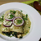 Chicken Enchiladas with Spinach, Mushrooms and Tomatillo Cream Sauce