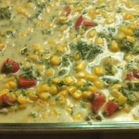 Collard Greens, corn and Tortilla Strata