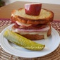 HAM, SWISS, BACON WITH APPLE SANDWICH