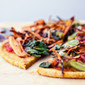 Vegan Gluten Free Sweet Potato Pizza Crust, Crispy Wasabi Sweet Potato Strips & Spinach Chive Dipping Sauce