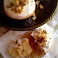 RECIPE: Pistachio Cream Filled Vanilla Cupcakes Topped with Pistachio Brittle