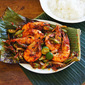 Pan Grilled Prawns In Banana Leaf