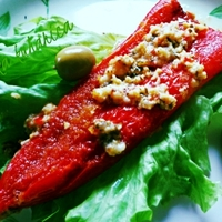Red horn peppers stuffed with cheese