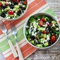 Spinach and Kale Salad with Greek Flavors and Feta-Lemon Vinaigrette (Low-Carb, Gluten-Free)