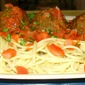 Taco Meatballs and Spaghetti with a Light Cilantro Tomato Sauce