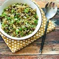 Quinoa Side Dish with Mushrooms, Green Onions, and Parmesan (Gluten-Free, Meatless)