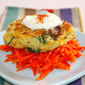 In the wide world of galettes – Cauliflower and zucchini galettes, bed of carrots, yogurt sauce