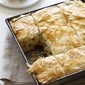 Havarti and Jarlsberg Chicken Phyllo Pie with Olives, Capers, and Sun-dried Tomatoes