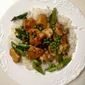 Ginger Chicken Stir Fry with Asparagus, Peas, and Mushrooms