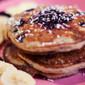 Gluten Free Vegan Quinoa Blueberry Pancakes with Carob Chips, Haskap Jam & Dried Haskap Berries