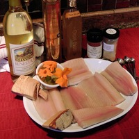 Cherry Wood Smoked Rainbow Trout With Peach Relish