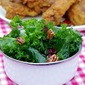 Massaged Kale Salad with Dried Cranberries and Roasted Pecans