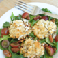 Broiled Goat Cheese Arugula Salad with Grapes and Candied Pecans