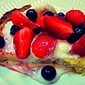 Patriotic Bourbon Buttermilk Pie with Tipsy Fruit