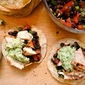 Grilled Chicken Tostadas with Black Bean Salsa and Avocado Cream