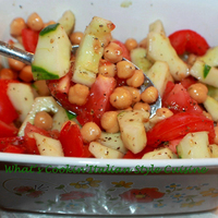 Italian Tomato, Cucumber and Chickpea Salad