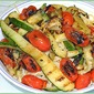 Grilled Zucchini and Peppers on Pasta