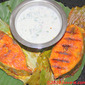 Grilled Mackerel In Banana Leaf And Yogurt Sauce