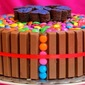 Kit Kat Cake | Kit Kat And Gems Cake | Birthday Cake For Kids | Chocolate Cake Frosted With Nutella
